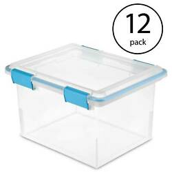 Sterilite 19334304 Clear 32 Quart Gasket Box With Clear Base And Lid 12 Pack