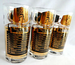 National Football Champions Highball Cocktail Glasses-mid- Century Cera Signed