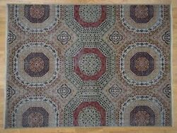 9and039x12and039 Vintage Look Mamluk Zero Pile Shaved Low Worn Wool Rug R41328
