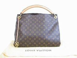 Authentic LOUIS VUITTON Monogram Leather Brown Shoulder Bag Hobo Artsy MM #5372