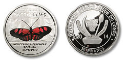 Congo 2014 Large Silver Color Proof 30 Francs -postman Butterfly -mintage 2000