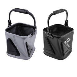 Collapsible Water Bucket Fishing Tackle Mesh Lid Fish Pail Baits Lures Case $19.79