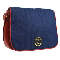 Auth CHANEL Quilted Messenger Chain Shoulder Bag Blue Red Denim Leather NR11682