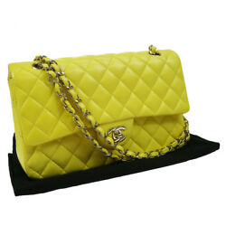 Authentic CHANEL Double Flap Quilted Chain Shoulder Bag Yellow EXCELLENT N20098