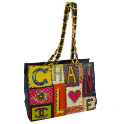 Auth CHANEL Jumbo Embroidery Chain Shoulder Tote Bag Black Tweed No.5 NR11188