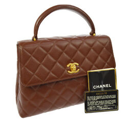 Authentic CHANEL CC Logos Quilted Hand Bag Brown Caviar Skin Vintage GHW YG01761