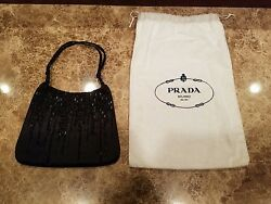 Prada Black Satin Beaded Evening Bag Purse with Dust Bag Excellent Condition