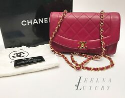 Auth Chanel Fuchsia Pink Diana CrossbodyShoulder Flap Bag 22k Gold Hw *RARE*