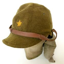 Prop Ww2 Imperial Japanese Army Military Em Nco And039s Wool Uniform Hat Cap W/ Star