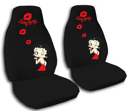 2 Front Or Rear Bench Black Betty Boop Velvet Seat Covers For Your Car