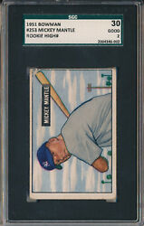 1951 BOWMAN #253 MICKEY MANTLE - ROOKIE - HIGH # - SGC 30 - GOOD 2 (SVSC)