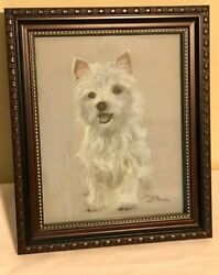 Darling Vintage west highland white terrier Pastel Framed Painting