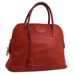 Authentic HERMES BOLIDE 31 2way Hand Bag Red Traurillon Clemence Vintage AK21376