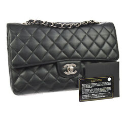 Auth CHANEL Quilted CC Double Flap Chain Shoulder Bag Black Caviar SHW A38799