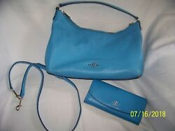Women's COACH PURSE & WALLET LOT TURQUOISE HOBO medium flower lined LEATHER