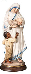 Statue Mother Teresa Wood With Children Therese Woodcarving Children