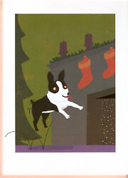 Bouncing Boston Terrier Christmas Cards Box of 8 Made in USA
