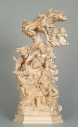 Presepe Raph. In Legno Naturale - Complete Crib Woodcarved Natural Finish