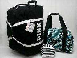 NWT VICTORIAS SECRET PINK 3PC WHEELIE SUITCASE CARRY ON & COSMETIC BAG BLKPALM