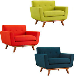 Classic Mid-Century Modern Tufted Club Chair Arms Green Atomic Red Azure Blue