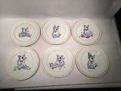 SET 6 Williams-Sonoma TROUBLE Bull Terrier Dog Plates Christmas Holiday New Year