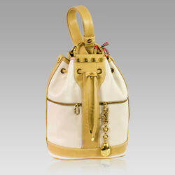 Marino Orlandi Italian Designer Cream Leather Sling Backpack Bucket Bag