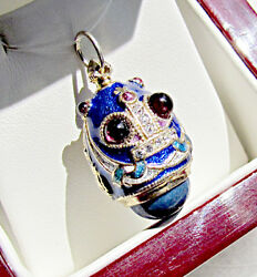 One Of A Kind Solid Sterling Silver 925 Enamel Egg Pendant Imperial Crown Eagle
