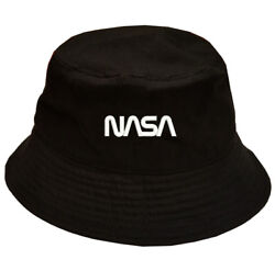 NASA TEXT EMBROIDERED Black Bucket Hat 100% cotton $14.99