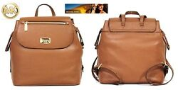MICHAEL KORS Bedford BACKPACK Luggage Brown Leather LARGE Purse Goldtone NWT