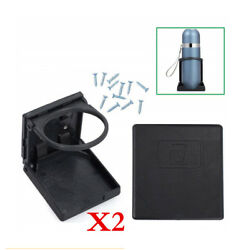 Folding Cup Holders 2pcs For Car Truck Boat Van Truck Suv Abs Black Universal