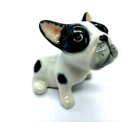 Dollhouse Miniatures Ceramic French Bulldog Dogs  Animal Figurines Collectible