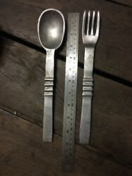 Vintage Alloy Spoon And Fork 280mm Long Aussie Made