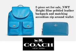 2-piece set: Coach Billie leather backpack & Continental zip wallet Bright Blue