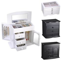 Jewelry Box Case Organizer Built in Mirror Watch Ring Earring Necklace Storage $35.99