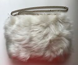 New Kate Spade White Faux Fur Leather Satchel W/ Gold Chain And Hand Warming Muff