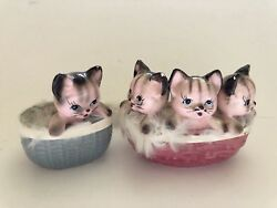 Vintage Ceramic Kitty Cat Figurines With Fur Basket Of Kittens