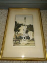 Chester Danforth Chicago Pencil Signed Print Engraving Water Tower Antique