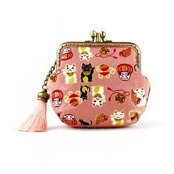 Handcrafted Puffy Twin-compartment Japanese Lucky Cats Purse Collectable 0163