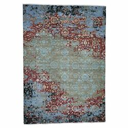 9and039x12and03910 Modern Broken Pattern Transitional Design Hand Knotted Oriental R41302