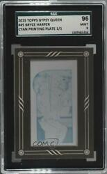 2015 Topps Gypsy Queen Printing Plate Minis Cyan Framed 1/1 Bryce Harper Sgc 10