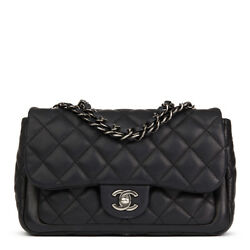 CHANEL BLACK QUILTED CAVIAR LEATHER CLASSIC SINGLE FLAP BAG  HB2064
