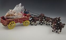 Cast Iron 6 Horse Drawn Wagon With 23 Barrels Toy 24''