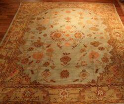 ANTIQUE  DECORATIVE HANDMADE TURKISH OUSHAK CARPET RUG 19thc  SIZE 14 X 12.9 ft.