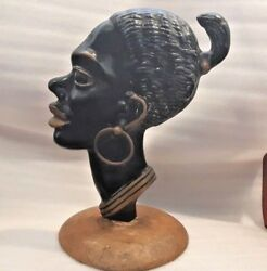 Israel Rare And Large Hakuli Solid Beronze Plaque Of African Woman Head Figurine