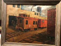Santa Fe Line Train Oil Painting 1900s Tower Workerand039s Signed Martin Augustosky
