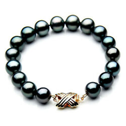 Pacific Pearls® 10-12mm Tahitian Black Pearl Gold Bracelet Gifts For Best Friend
