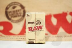 Full Box 24 Packs Authentic Raw Rolling Paper Organic Connoisseur 1 1/4+tips