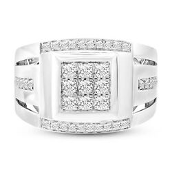 Mens 0.79ct 14k White Gold Real Round Cut Diamond Cocktail Right Hand Mans Ring