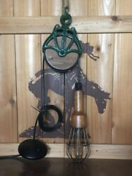 Vintage Mid Century Mcgill Wooden Drop Light With Copper Contacts.