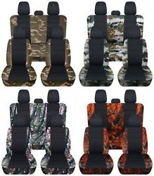 Truck Seat Covers Fits 2015-18 Ford F150 Front Rear Camo Pattern And Black Abf